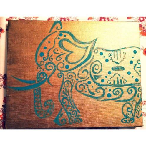 "Golden steps. 8""x6"". Acrylic on Kanvas."