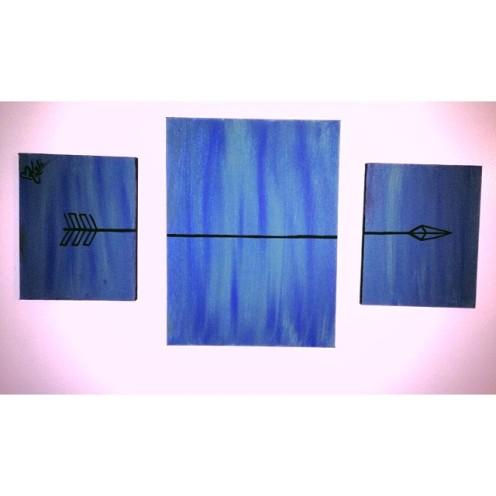 "Move Forward. 9""x11"" (2). 16""x20"" (1). Acrylic on Kanvas. 3 Piece set."