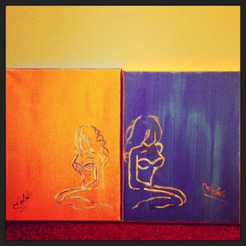 """Saint & Sinner. 8""""x12"""". 2 Piece Set. Acrylic on Kanvas."""
