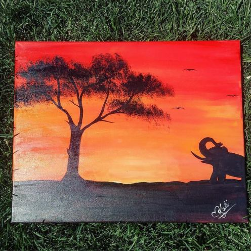 """Commission - African Nights. 16""""x20."""" Acrylic on Kanvas."""