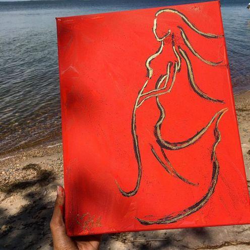 "Burning Desire. 8""x11"". Acrylic on Kanvas. $80.00"