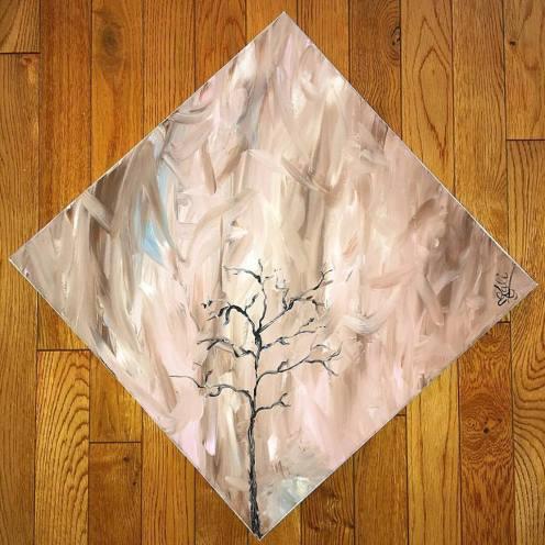 """Bare. 16""""x16"""". Acrylic on Kanvas. $250."""