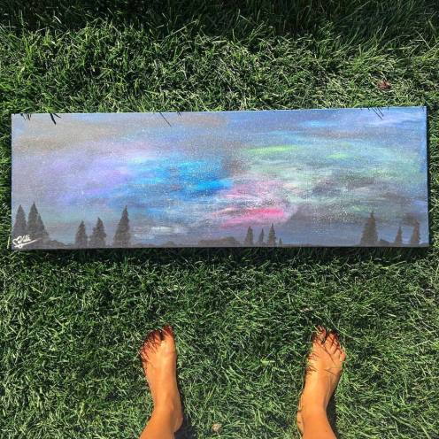 """Commission - 42 with a View. 20""""x36"""". Acrylic on Kanvas."""