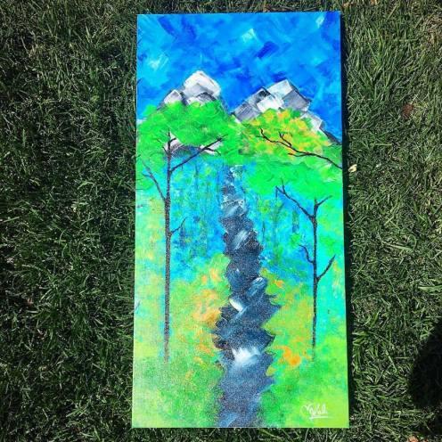 """Walk with Nature. 15""""x30"""". Acrylic on Kanvas."""